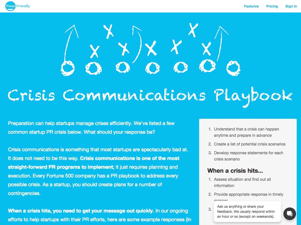 crisis communications playbook